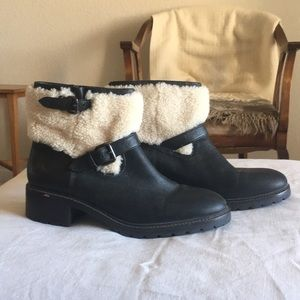 Coach black leather with cream shearling boots.